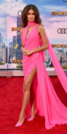 Look of the Day - Zendaya continued her streak of perfect red carpet looks with a custom pink Ralph & Russo gown, matching Casadei pumps, and  Bulgari jewelry at the premiere of Spider-Man: Homecoming in Hollywood.