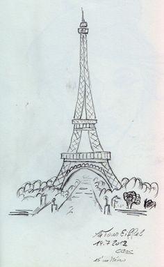 Der Eiffelturm vom Palais Chaillot aus gesehen. Die Zeichnung ist am 14. Juli 2012 mit Bleistift entstanden.