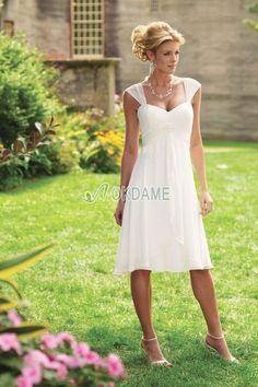Birneförmiges Empire Taille plissiertes sanduhrförmiges knielanges Brautkleid für Rechteck Figur