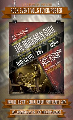 Rock Event Flyer / Poster Vol.5 — Photoshop PSD #indie #rock flyer • Available here → https://graphicriver.net/item/rock-event-flyer-poster-vol5/13186183?ref=pxcr