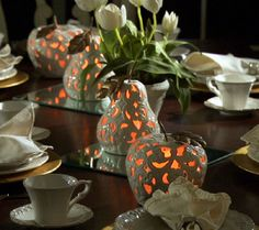 Porcelain Fruit Luminary with Gold Leaf Accents by Home Reflections