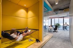 Inside Gaming Company Offices in Ljubljana - Arbeitszimmer Office Interior Design, Office Interiors, Corporate Interiors, Yellow Office, Inside Games, Student House, Family Office, Workplace Design, Co Working