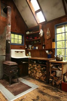 I Love The Sink, But A Wood Cook Stove Would Be Preferred Over What Is  Installed. Might Be An Idea For A Cabin Or Tiny House. Rustic Cabin Kitchen  ...