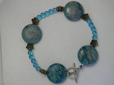 Teal Stone and Glass Bracelet by NonSequiturShoppe on Etsy, $17.00