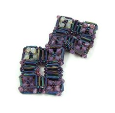 Asian window Brooch ( square purple beaded cristal brooch )