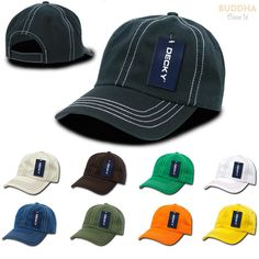 daee2ded7ca 1 Dozen Decky Contra Stitch Polo Washed Cotton Dad Caps Hats Wholesale Lots