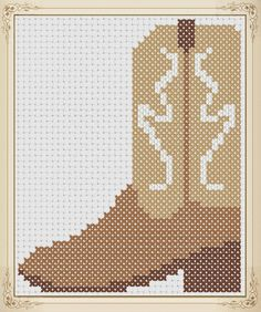 Name: 'Embroidery : Cowboy Boot Counted Cross Stitch Embroidery Leaf, Hand Embroidery Designs, Embroidery Patterns, Plastic Canvas Ornaments, Plastic Canvas Patterns, Cross Stitch Designs, Cross Stitch Patterns, Needlepoint Pillows, Canvas Designs