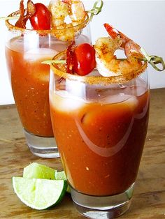Free yourself of the notion that Bloody Mary's are just for brunch and whip up this spicy Bloody with shrimp and bacon.
