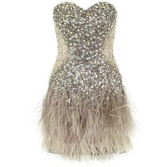 Jovani Sequin and Feather Dress (18,275 MXN) ❤ liked on Polyvore featuring dresses, vestidos, short dresses, robe, mesh cut out dress, sequin cocktail dresses, brown cocktail dress, cut out dress and sequin mini dress