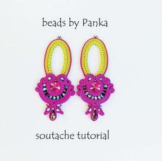 Sale-50%.  Pdf soutache PATTERN. Soutache Earrings Tutorial. Instant download. Beading tutorial. How to make jewelry tutorial.
