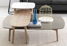 Match (CS/5084) by Calligaris is a wide range of modern coffee tables and end tables with a soft, organic feel. This can be attributed to the use of wood as the main material, the gently curved lines and the natural pallet of tones used. Multiple size and color combinations are available offering a vast choice and great versatility.