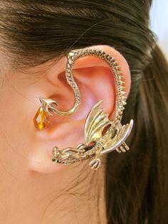 Game of Thrones Inspired Throne Dragon Ear Wrap with Briolette Drop Bronze Non Pierced Ear Wrap Ear Cuff