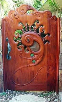 Whimsical gate door - would love to build this (or similar) for entrance to backyard (if I can do this affordably - looks like it would be an expensive high grade wood in order to replicate though) Cool Doors, The Doors, Unique Doors, Windows And Doors, Art Nouveau, Door Knockers, Door Knobs, Garden Gates, Garden Art