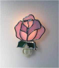 Pat would have loved this one Stained Glass Night Lights, Stained Glass Flowers, Stained Glass Lamps, Stained Glass Patterns, Stained Glass Windows, Fused Glass, Nightlights, Custom Glass, Glass Design