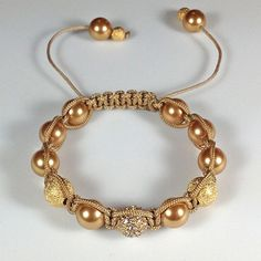 Gold - Swarovski Crystal Pearls, Stardust & Beadelle Pave Bead Accents with Golden Beige Knotting