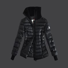 2013 New! France Moncler Down Jackets Womens Stand Collar Zip Black Outlet