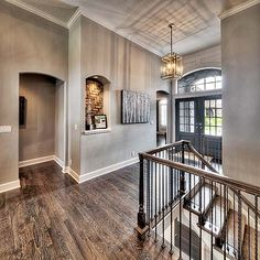 Reverse Floorplan, Double Door Entry, Light Fixture, New Home, Entry Stairs, Entryway Decor