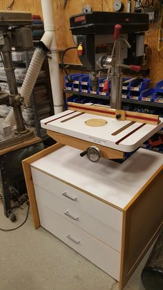 Drill press table and storage