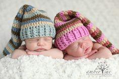 TWIN SETNewborn Baby Elf Pixie Hat StripedGreat by ShutterflyBaby. $30.00, via Etsy.