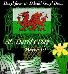 Happy St David's Day - the dragon, daffodil and the leek are symbols of Wales.