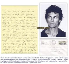 richard ramirez highly displayable handwritten letter w envelope photo print auction id