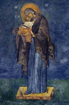 The Panagia and Theotokos holding the Christ Child Blessed Mother Mary, Divine Mother, Blessed Virgin Mary, Byzantine Icons, Byzantine Art, Religious Icons, Religious Art, Sign Of The Cross, Holy Mary