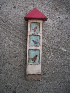 Colorful Love Birds - Rustic Shrine Painting on Hand Carved Wood Painted Birds Original Acrylic Painting Art