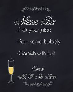 Mimosa Bar DIY Sign Decorations Bridal Wedding Shower Chalkboard Poster. Instant Digital Download 4 sizes available. Reception - Bar Bridal Luncheon Rehearsal Dinner