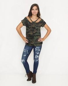 fac8164b45a Olive Camo Top with Cutout