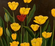 Acrylic on canvas - 18 x 24 Red Tulips, Graphic Design, Canvas, Creative, Artist, Plants, Painting, Tela, Artists