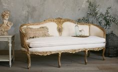 Vintage Shabby French Louis XV Style Settee Gilt