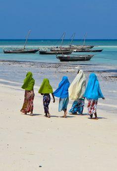 Women of the fishing village of Nungwi Beach, Zanzibar Africa Our Africa