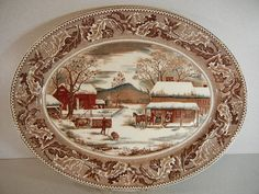 Johnson-Brothers-Home-For-Thanksgiving Turkey-Platter- / I love the detail in this platter and there is turkey in the scene./vc