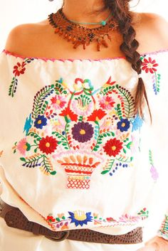 Handmade Mexican embroidered dresses and vintage treasures from Aida Coronado Mexican embroidered mini dress A heart in every piece