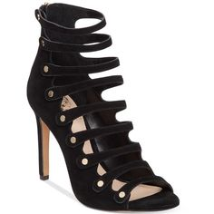 Vince Camuto Kanastas Strappy Gladiator Sandals ($129) ❤ liked on Polyvore featuring shoes, sandals, black, black strap sandals, black strappy shoes, roman sandals, black gladiator sandals and strappy sandals