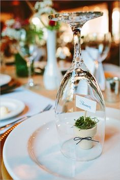 Wine Glass Terrarium Place Card | 35 Cute And Clever Ideas For Place Cards