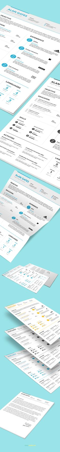 Elegant Resume Templates With Cover Letters  Ms Word  Psd