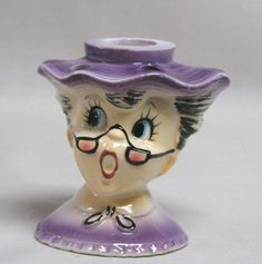 Holt Howard L'IL Ole Lace Granny Flower Frog and Candle Holder 1959