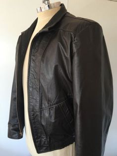 Vtg JEAN PIERRE Leather Jacket Mens Large Size 44 Brown Coat Biker Racer Zipper | eBay
