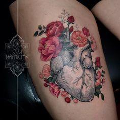 Pretty anatomical heart tattoo by Juli Hamilton JuliHamilton engraving anatomicalheart flower Mandala Tattoo Design, Heart Tattoo Designs, Tattoo Sleeve Designs, Sleeve Tattoos, Body Art Tattoos, New Tattoos, Tattoos Pics, Henna Tattoos, Tattoos Gallery