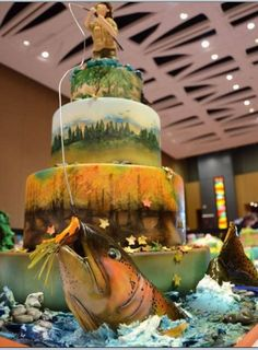 Amanda Chimirri's cake combined airbrushing, painting, sculpting, fondant and gumpaste modeling and more to capture the fisherman's struggle to land the big one.