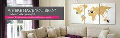 Uniq custom design boutiq   shop  Journeys + Destinations pinnable world map - available in 9 colours