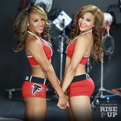 Two Atlanta Falcons Cheerleaders Falcons Football, Football Cheerleaders, Football Pics, Cheerleader Costume, Cheerleading Outfits, Falcons Rise Up, Lingerie Football, Professional Cheerleaders, Girls In Mini Skirts