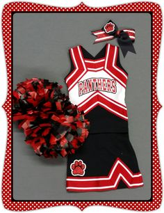 Custom cheer uniform, matching bow, Pom poms, and bloomers - Your school colors and mascot!  by No Bow... No Go! by nobownogo on Etsy