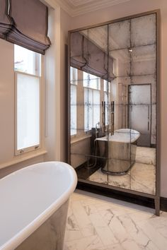 INTERIOR-iD is a premium-quality joinery company specialising in the development, manufacture and installation of bespoke fitted interiors in a range of materials. Retro Bathrooms, Luxury Bathrooms, Notting Hill, Full Length Mirror Wall, Metal Workshop, Mirror Door, Clawfoot Bathtub, Joinery, Creative Design