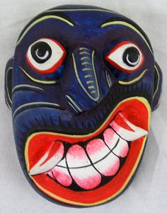 This mask is part of Sri Lankan folk medicine tradition and is used to treat the disease, in this case paralysis. It is made of a soft and light balsa (kaduru) wood.