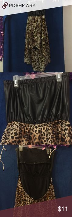 High low strapless cheetah dress High low strapless cheetah dress, open back, pleather top, large, 100% polyester Dresses High Low