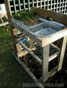 Vegetable washing station at end of garden, recycle water on garden!