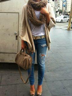 Cozy Crochet Scarf,Plain Cardigan,Ripped Jeans and Handbag