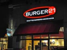 """Find Burger 21 price list in the USA which offers """"Burgers, French Fries, Salads, etc. Fast Food Restaurant, 21st, Board, Image"""